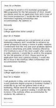 College Application Letter College Application Letters
