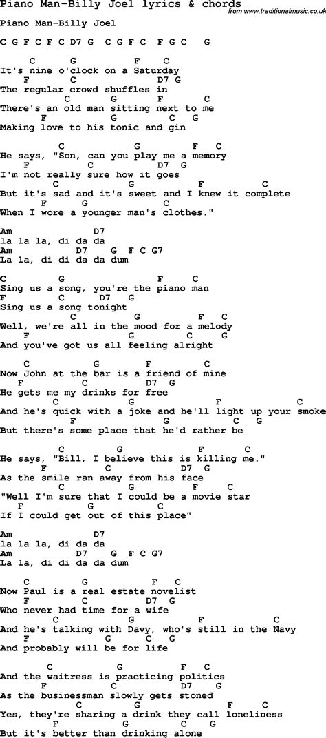 song tab song lyrics for piano billy joel with chords for