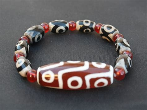 dzi singapore tibetan 9 3 eye big 9 eye agate dzi beaded bracelet