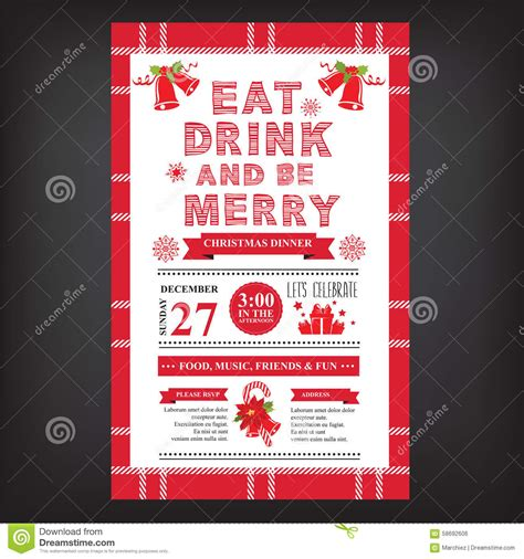christmas restaurant and party menu invitation stock