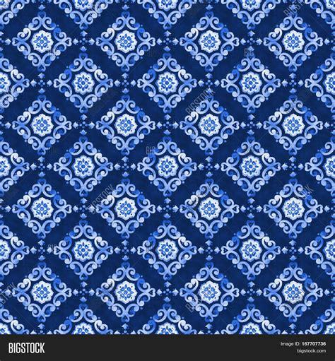 pattern blue overalls watercolor royal blue velour image photo bigstock