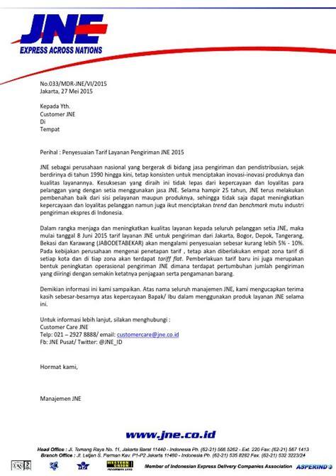 email jne pusat tangerang penyesuaian tarif jne 2015 untuk jabodetabekar