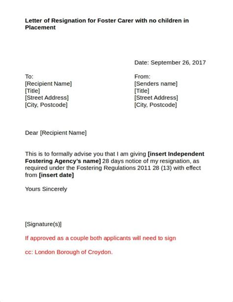 Resignation Letter Za 43 resignation letters in doc free word format