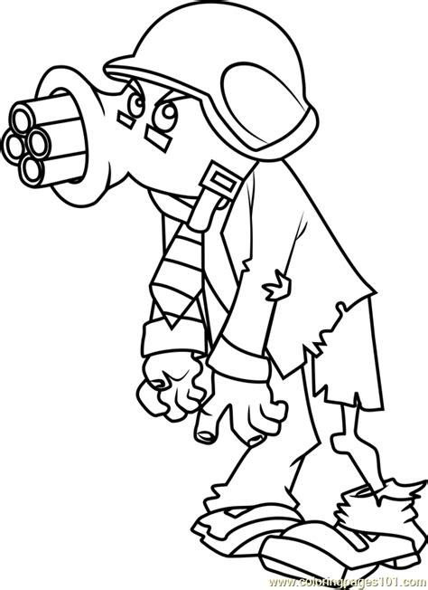 gatling pea zombie coloring page free plants vs zombies