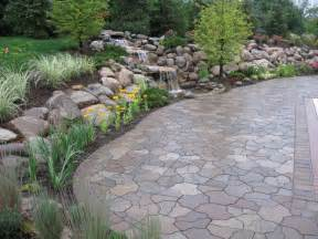 Water fall and pond flagstone paver contemporary patio detroit