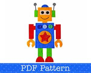 robot applique template make your own appliques pdf pattern