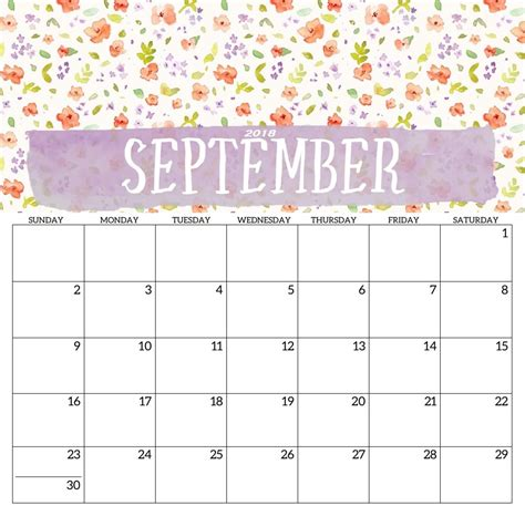 september 2018 calendar printable calendar 2018 printable
