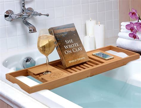 wooden bathtub reading tray caddy with book and wine