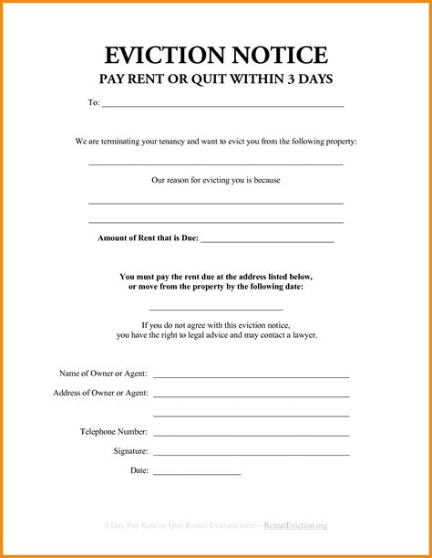 Eviction Notice Template Exle Mughals Free Printable Eviction Notice Template