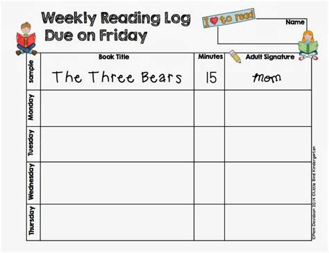 kindergarten reading log template 17 best images about pre school literacy on