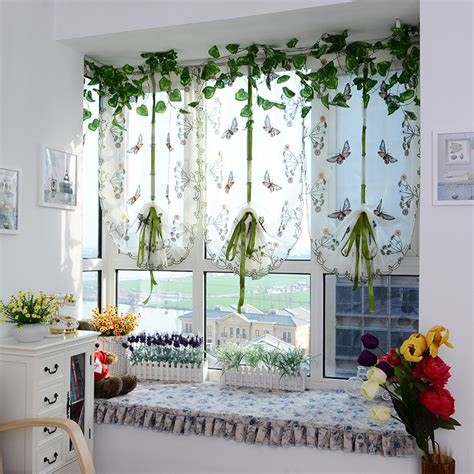Sheer Kitchen Window Curtains 2015 New Butterfly Tulle For Window Window Curtain Blinds Embroidered Sheer Curtains For