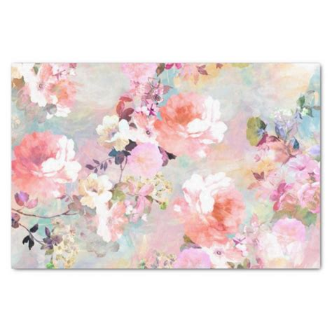 pattern for tissue paper flowers romantic pink teal watercolor chic floral pattern tissue