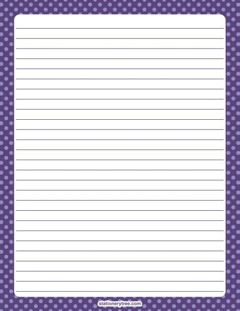 free printable stationery paper without lines printable purple polka dot stationery and writing paper
