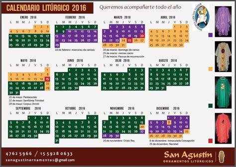 Calendario Liturgico 2016 Calendario Liturgico 2016 San Agustin Ornamentos