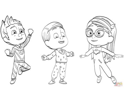 coloring pages pj masks pj masks pajama heroes coloring page free printable