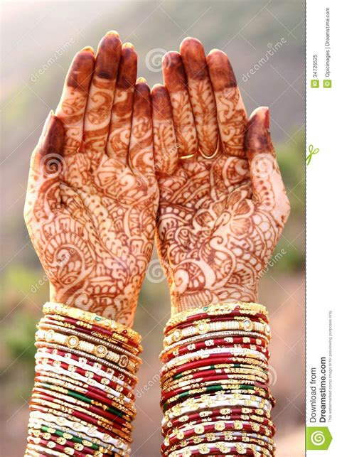 henna hands and bangles stock image image of bride