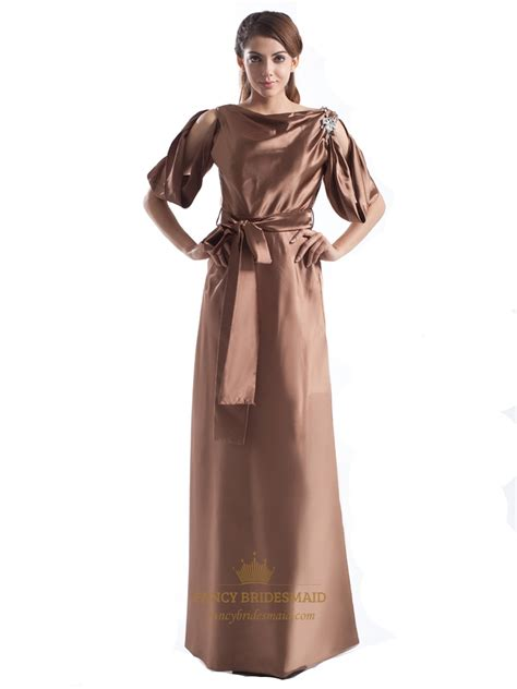 Chocolate Brown Half Sleeve A Line Long Semi Formal Design Your Own Semi Formal Dress
