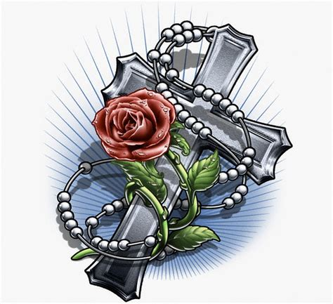 cross and rosary tattoo designs crosses with roses drawing at getdrawings free for