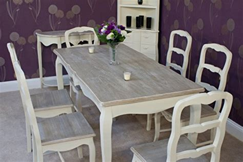 White Shabby Chic Dining Table And Chairs Classic Casamore Rectangular Dining Table And 6 Dining Chairs In Inspired Shabby