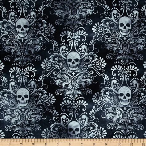 Skull Upholstery Fabric by Timeless Treasures Skulls Damask Charcoal Discount