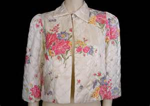 vintage 40s floral rayon satin quilted bed jacket designer bed