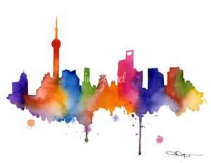 Kids Bathroom Pinterest - stunning quot shanghai skyline painting quot artwork for sale on fine art prints