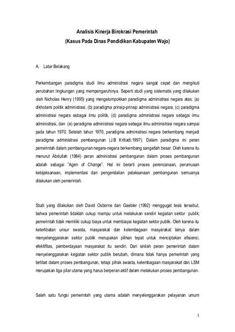 Analisis Kinerja analisis kinerja birokrasi pemerinta doc