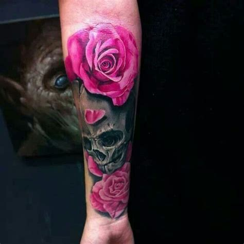 dark red rose tattoos pink black skull arm ink
