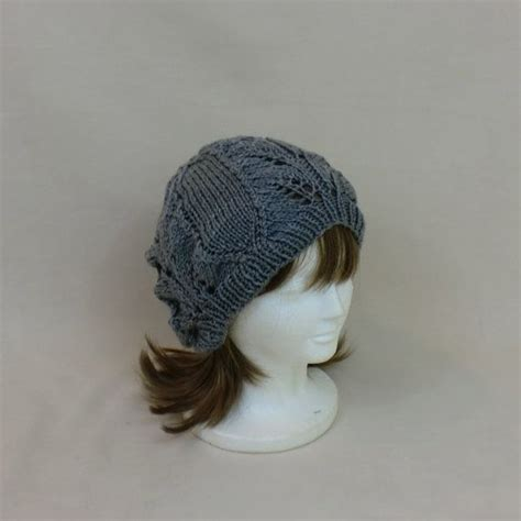 Lace Beanie slouchy hat grey baggy lace beanie knit hat