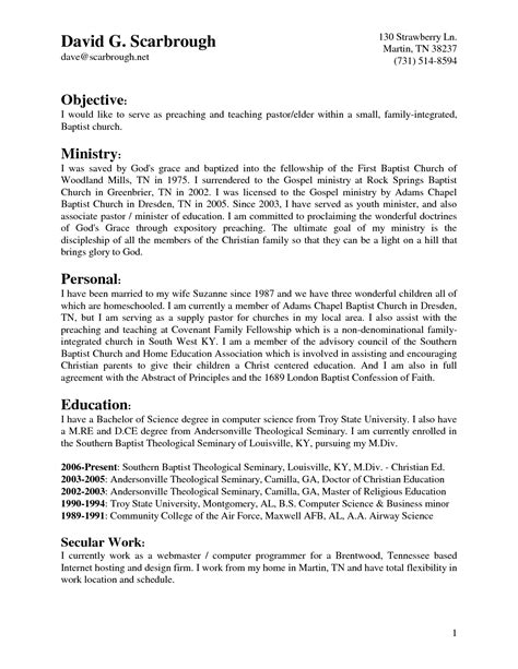pastoral resume template resume ideas