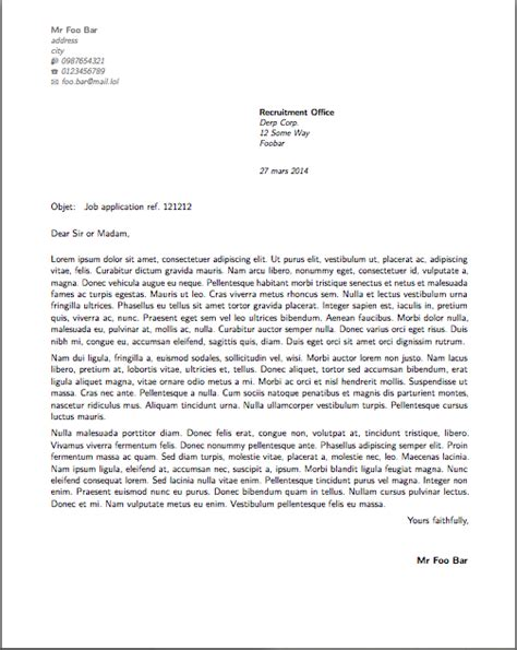 horizontal alignment french style cover letter