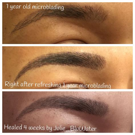 semi permanent tattoo 6 months before right after and healed microblading which is a