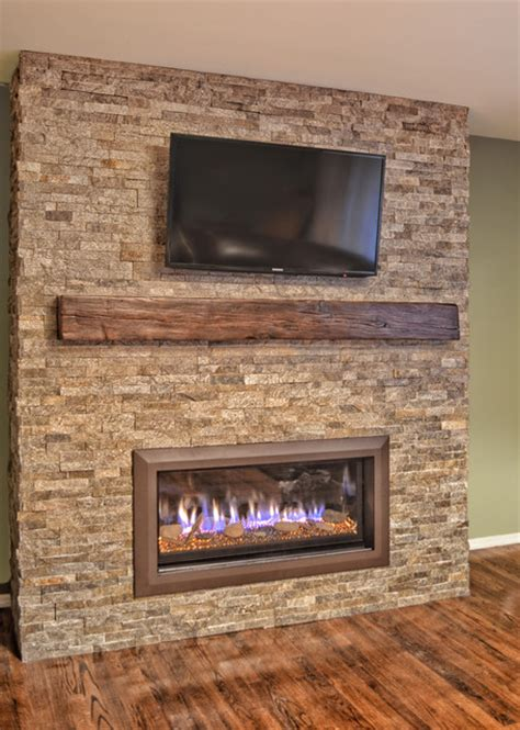 Stacked stone linear fireplace   Contemporary   other