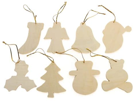 pkg 24 unfinished wood christmas ornaments assortment