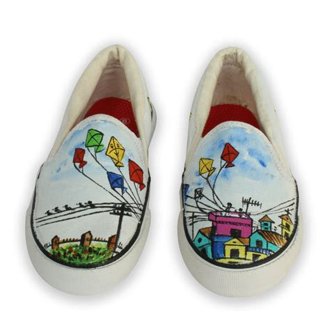 colourful kites design handpainted canvas shoes for
