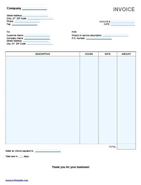 Invoice Word Europcars Club Invoice Template Word 2010