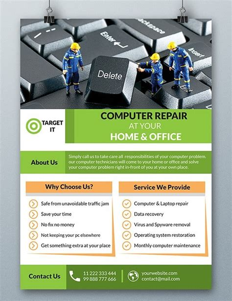Free Computer Repair Flyer Template Psd Titanui Computer Repair Template