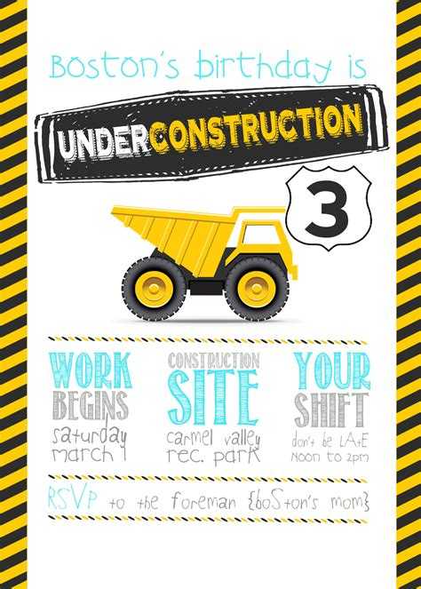 construction themed birthday card template this construction birthday will go as one of