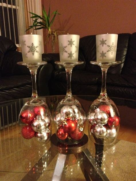 diy christmas decorations upside down wine glass dollar store mini ornaments dollar store