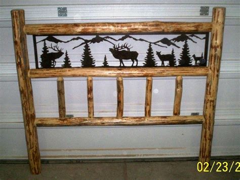 log headboards for beds queen size rustic iron style pine log bed by