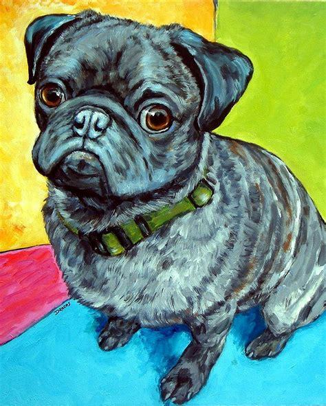 pug painting pug sitting on bright background painting by dottie dracos