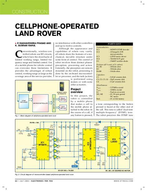 cellphone land rover using micro controller
