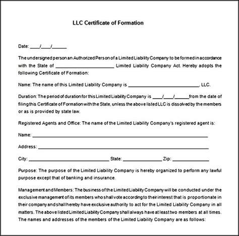 llc membership certificate template free sle templates