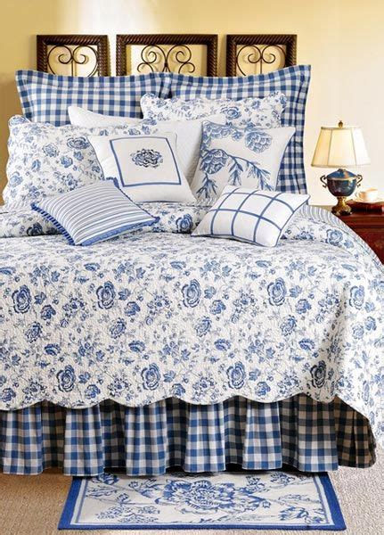 country quilts for beds country house blue white floral toile queen quilt bed