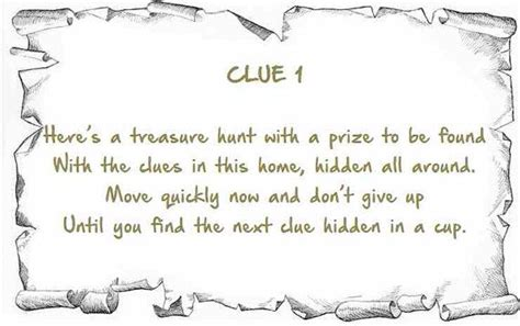 Scavenger Hunt Clue Cards Template by Indoor Treasure Hunt Clues Printable Instant