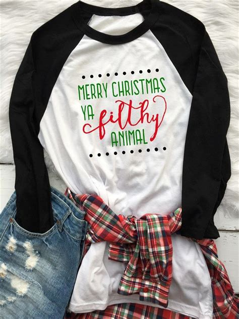 merry christmas ya filthy animal raglan xs xl christmas quotes cricut  silhouettes