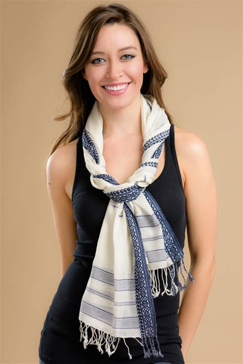 navy and white scarf sevya fair trade wholesale scarves