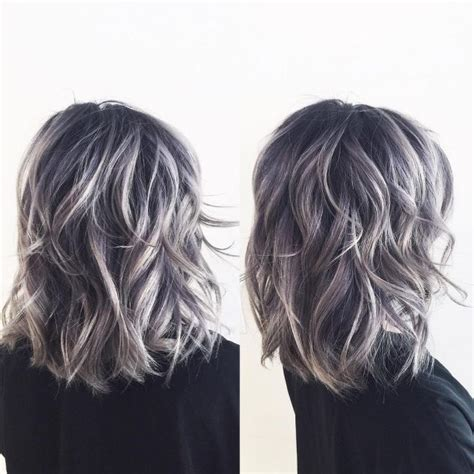 silver highlighted hair styles ash gray highlights dark brown hairs