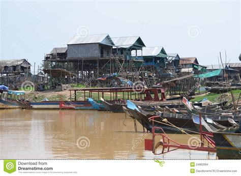 siem reap floating village boat price boats and houses in a floating village cambodia stock
