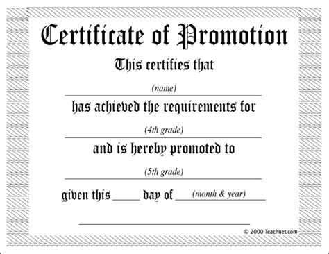 promotion certificate template 5th grade promotion certificate template this